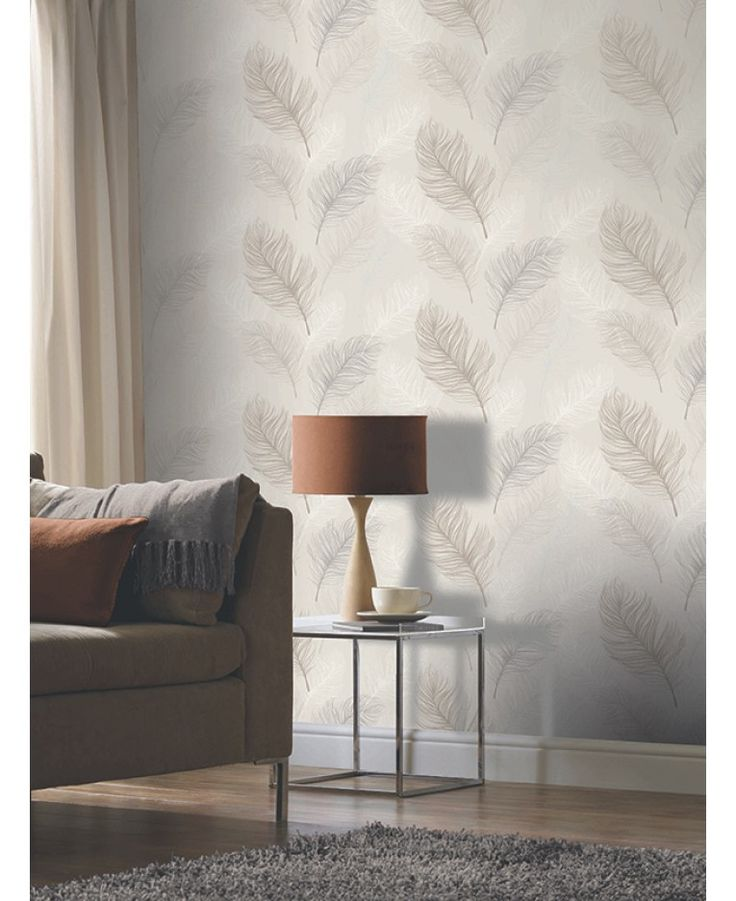 This beautiful Whisper Feather wallpaper features an illustrated style oversized feather design in tones of taupe, grey and white set on a soft natural beige coloured background. Easy to apply, this high quality wallpaper would look great as a feature wall or equally good when used to decorate a whole room.