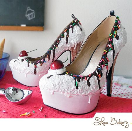 Eye-catching shoes designed by Shoe Bakery look like delicious ice cream.