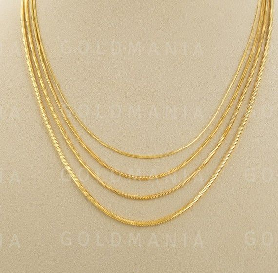 14k Yellow Gold Round Snake Chain Necklace 16 To 24 Inch 1 0mm To 1 90mm Real Gold Chain Snake Gold Chain Delicate Gold Chain Women Real Gold Chains Chain Necklace Snake Chain