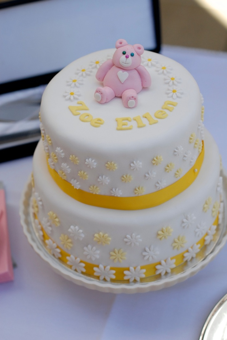 Yellow girl's christening cake