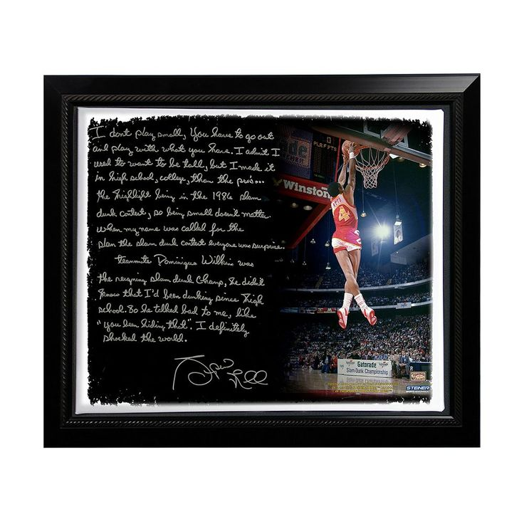 "Steiner Sports Atlanta Hawks Spud Webb Slam Dunk Contest Facsimile 22"" x 26"" Framed Stretched Story Canvas, Multicolor"