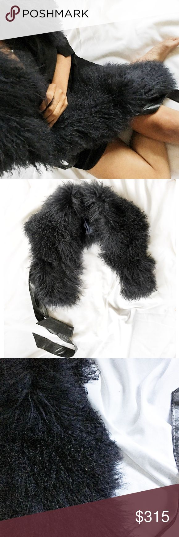 "Midnight Mongolian Fur Authentic Mongolian fur stole/ scarf with leather waist belt. Glamourpuss brand: purchased on sale for $525 from Saks. Giant and fluffy! Looking to jazz up your Free People/ Haute Hippe vibe? Or add some surprise to your Reiss/ Helmut Lang collection? Let this elegant &edgy twist add some personality to your wardrobe. Only for the daring! Measures 55"" x 10"". *I personally style all pics* NO TRADES EVER! Bundle &save even more✅ Saks Fifth Avenue Accessories Scarves…"