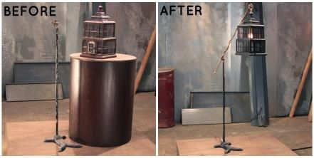 Here's proof once again that anything can be transformed into a light fixture. Most people see a birdcage and rusty floor lamp base, but Lara saw an eclectic floor lamp (and conversation piece).