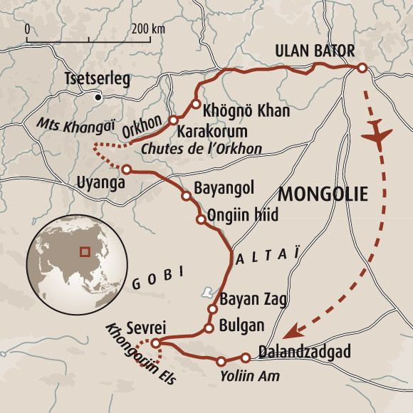 Circuit carte Mongolie : Total Mongolie