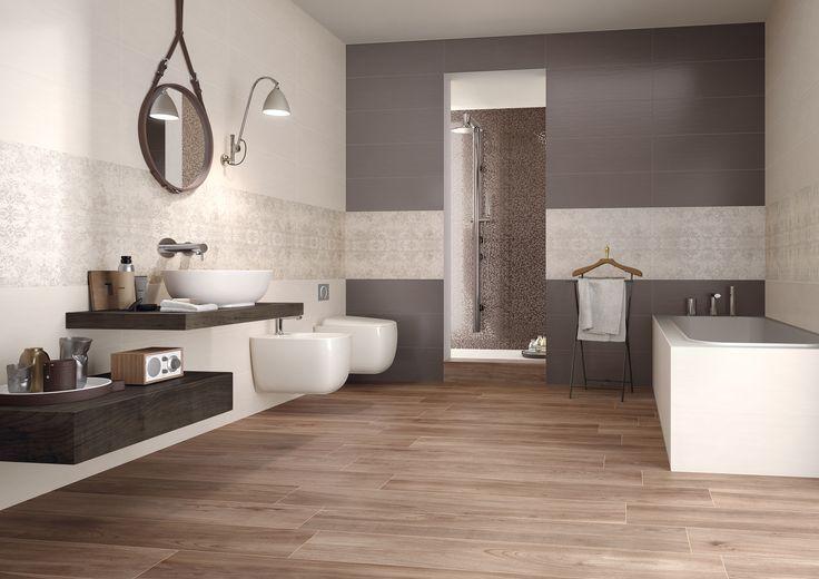 A pavimento di questo bagno la nostra collezione Privé effetto legno Noce http://www.supergres.com/your-home/pavimenti/item/924-prive-pavimento-effetto-legno
