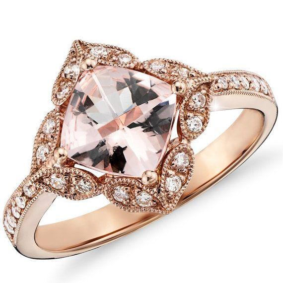 2.83CT Morganite  Diamond Engagement Ring 14K Rose Gold Halo Vintage Antique Floral Style Size 4-9