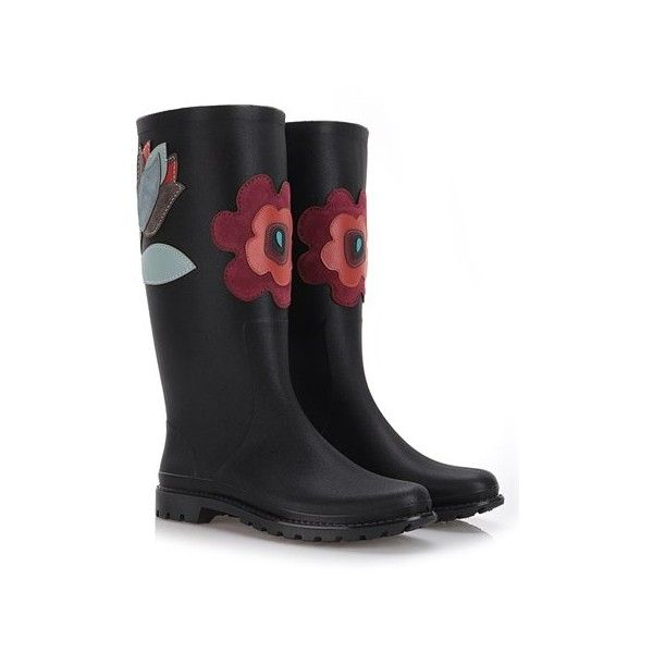 RED VALENTINO Rain Boots With Suede Flowers ($155) ❤ liked on Polyvore featuring shoes, boots, black boots, rubber boots, suede leather boots, wellies boots and black rain boots