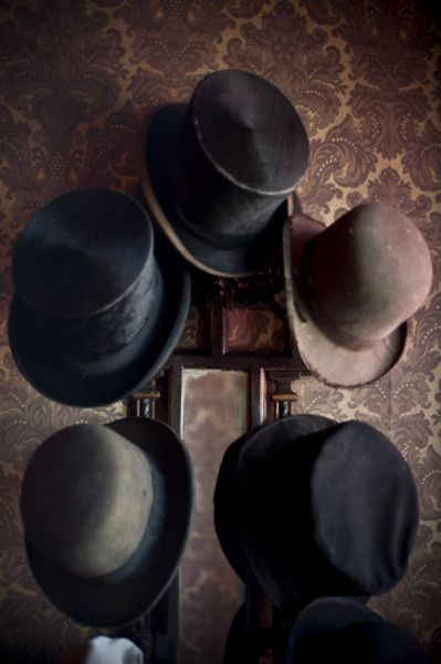 vintage hat collection on display