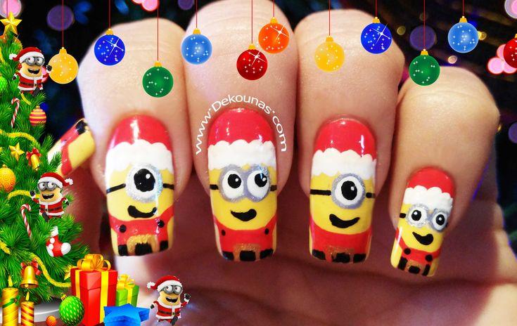 Decoración de uñas Minions navidad - Christmas minions nail art