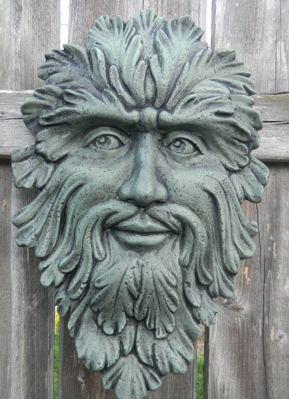 Green Man Face ceramic Wall hanger Teal green by SueSueSueCrafts