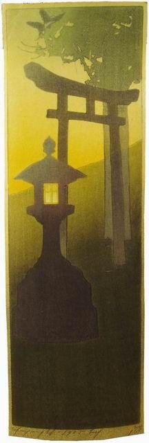 "Another woodblock print by Bertha Lum  ""Evening"""