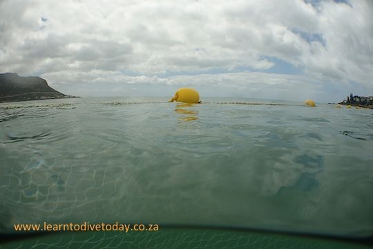 Over-under view of the shark exclusion net at Fish Hoek beach