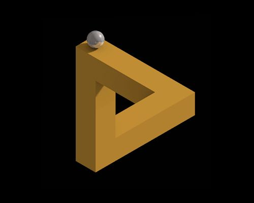 Penrose Triangle Animation. Click for the animated gif, and try to follow the ball, moving around its path. It seems to make sense at first, but there's just something off about it...