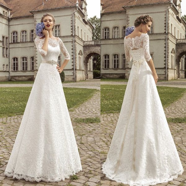 Great Cheap Cheap Vintage Wedding Dresses Lace Sexy Off Shoulder Sheer Elbow Sleeves Corset Back Wedding Gowns With Ribbon Outdoor Bridal Dresses As Low As