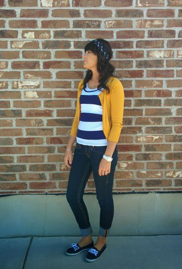 Navy and white stripes, mustard cardigan, blue skinny jeans, vans boat shoes, head wrap, classic, preppy
