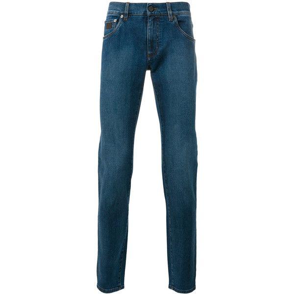 Salvatore Ferragamo Denim Slim-fit Jeans ($425) ❤ liked on Polyvore featuring men's fashion, men's clothing, men's jeans, mens slim cut jeans, mens slim fit jeans, mens denim jeans and mens slim jeans