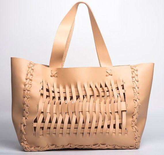 Nude  Woven Tote Bag Italian Leather Every Day by EleannaKatsira