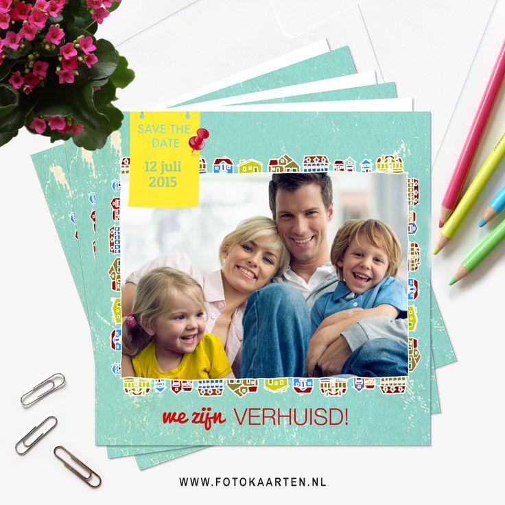 Bij een gezellige housewarming hoort een vrolijk verhuiskaartje. Je kunt het aanpassen naar wens. www.fotokaarten.nl