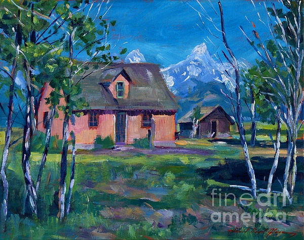 A pioneer home on the historic Mormon's Row a painting by David Lloyd Glover