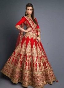 Red raw silk bridal lehenga