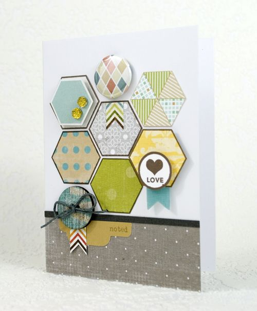 Card by Shari Carroll.Scrapbook Ideas, Cards Ideas, Hexagons Punch, Studios Calico, Hexagons Stamps, Beehive Pattern, Paper Crafts, Shari Carroll, Hexagons Cards