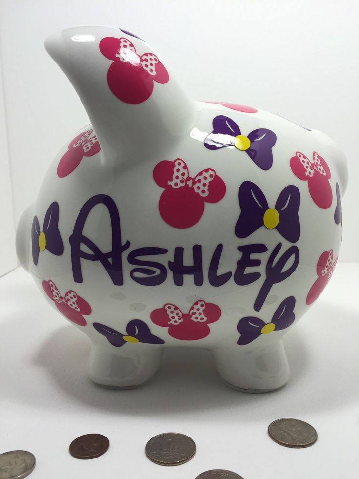 Minnie Themed Piggy Bank - Large Piggy Bank by sketchedglass on Etsy