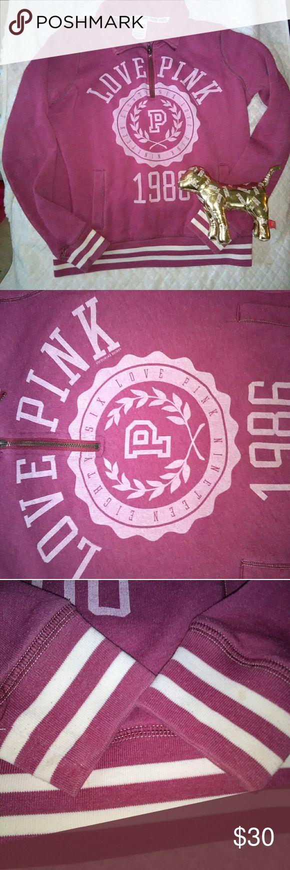 FLASH SALE VS Pink maroon jacket Vs pink maroon 1986 love Pink jacket size xs  In prefect condition PINK Victoria's Secret Jackets & Coats