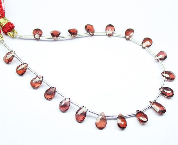 Natural Garnet Faceted Pear Drop Beads Strand, – Jewels Exports