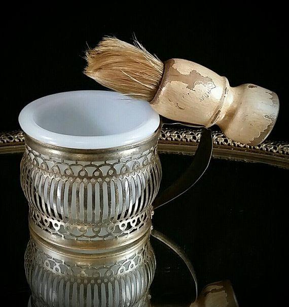 Antique Shave Set Milk Glass Mug Primitive by OldGLoriEstateSale