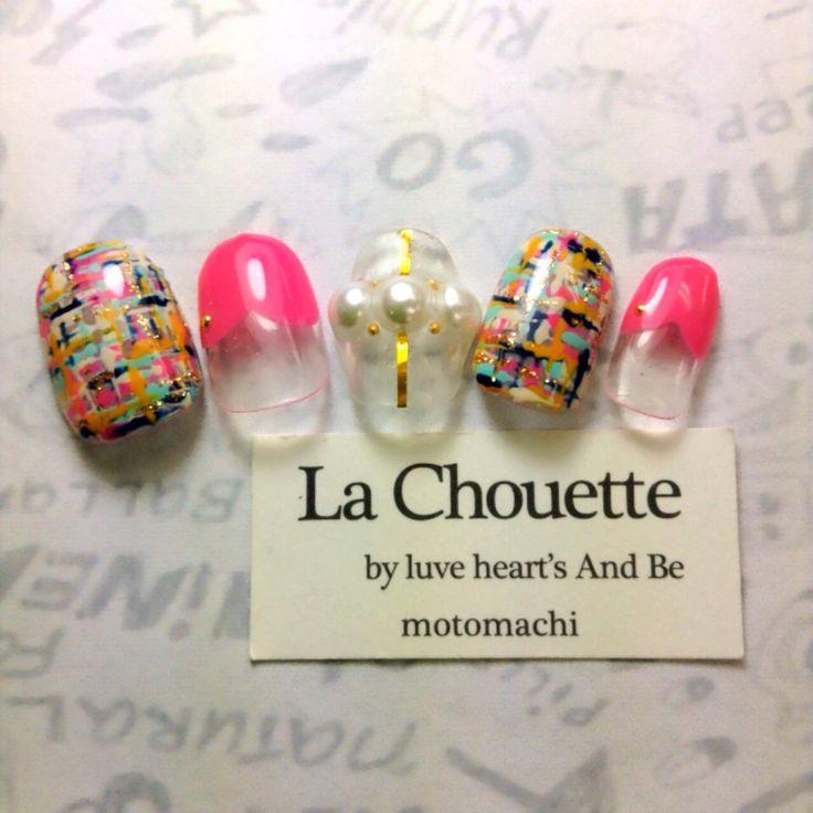 可愛いツィードネイル♡ LaChouette  by luve heart's And Be   motomachi  TEL0783917787  web予約はhttp://salons.jp/r/motomachi/コチラから*