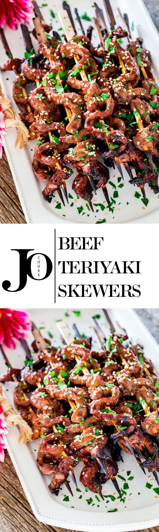 When these Beef Teriyaki Skewers are sizzling on your grill, the aroma will make everyone around you stop what they're doing and come for a taste of these easy to make flank steak skewers with homemade teriyaki sauce.
