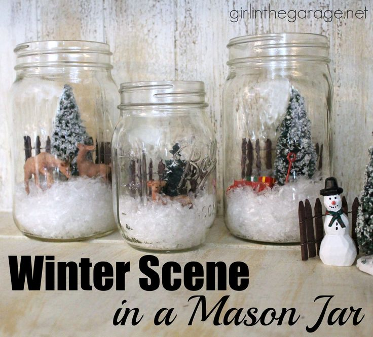 Easy holiday craft: How to create a winter wonderland scene inside a mason jar. girlinthegarage.net #madewithmichaels @michaelsstores