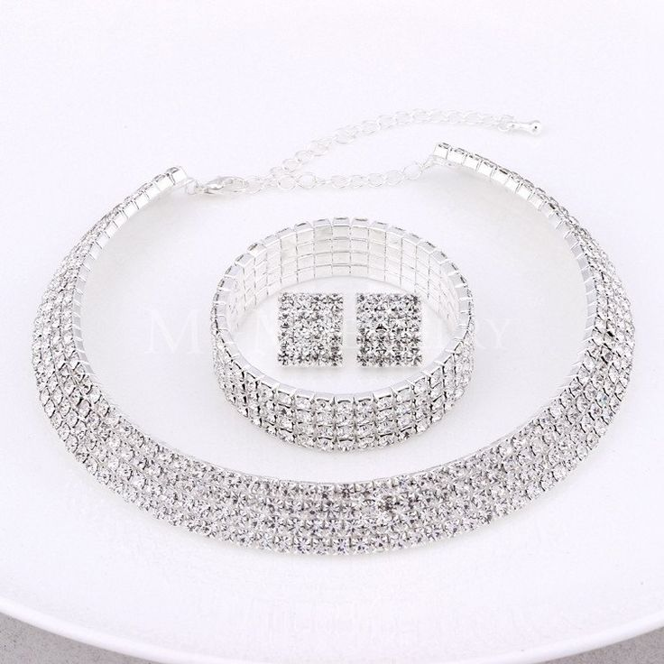 #Classic Four Row #Rhinestones #Silver #Necklace #Earrings #Bracelet #Jewelry #Set