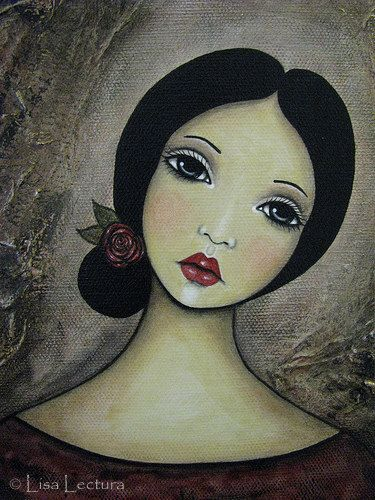 Original Mixed Media Portrait Painting by Lisa by lisalectura, $85.00