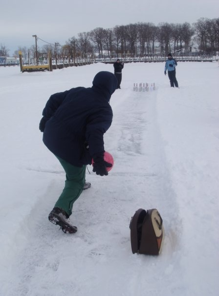 Winter activities, bowling on the Lake Erie ice at Put-in ...