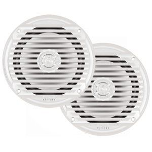 """JENSEN 6 1/2"""" COAXIAL WHITE MARINE SPEAKER """"Prod. Type: Entertainment"""". JENSEN 6 1/2"""" COAXIAL WHITE MARINE SPEAKER MS6007WR 6-½"""" Coaxial White Marine Speaker Weatherproof and designed for marine use Max power handling: 120W (Pair) Frequency: 75Hz-20kHz Nominal impedance: 4 Ohms Polypropylene woofer: 6-½"""" Magnet: 9.8 oz. Mounting hole diameter: 5"""" Mounting depth: 2- 1 ⁄ 3 """" Tweeter type: Standard Tweeter material: Silver Mylar ASTM B117 salt spray exposure compliant ASTM D4329 UV exposure..."""