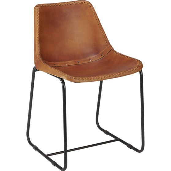 roadhouse leather chair in dining chairs, bar stools | CB2