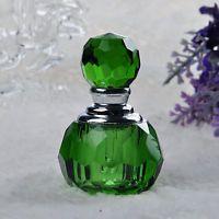 Vintage Green Crystal Empty Refillable Perfume Bottle Stopper Wedding Decor Gift
