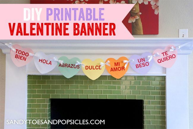 Make decorating easy with this free printable banner. | Free Printable DIY Valentine's Day Banner