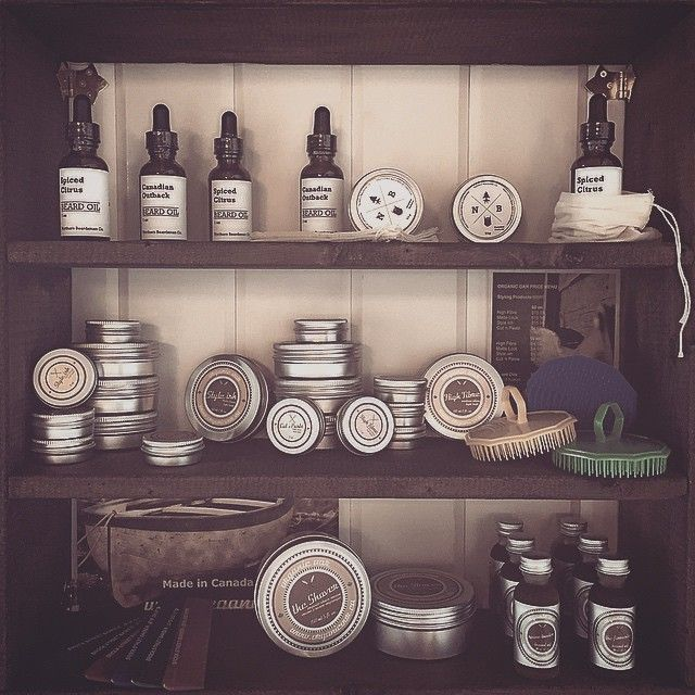 #Finally a place for #Product . Thanks to Kyle from #NorthernBeardsman for putting the shelves together . All our product is #AllNatural and #Local . #NorthernBeardsmanCo . #OrganicOar . #BrockStreetBarber . #KeepItHandsome