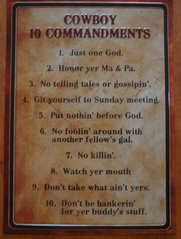 Cowboy Ten Commandments Old West Primitive Country Western Sign Ranch Home Decor