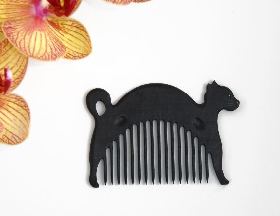Wooden Comb Cat Hand Carved Natural. One of by ArtGiftStoreEcoToys