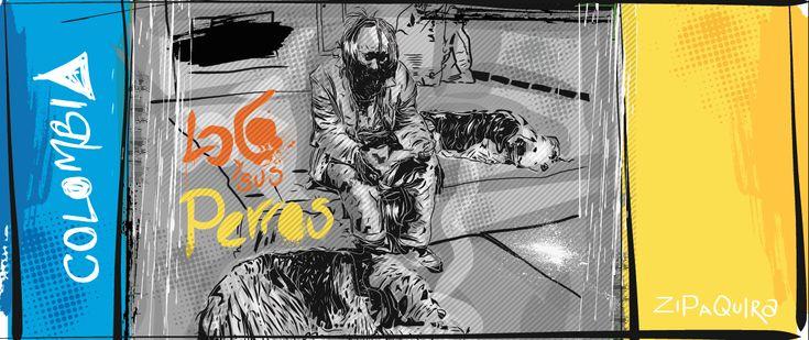 ilustración loco y sus perros, adobe illustrator draw