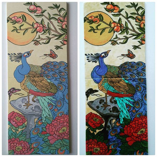 Before and after... Öncesi sonrası... #tile #tilepainting #painting #handpainted #tiles #handcraft #peacock #decorativearts #decoration #homedecor #art #artwork #craft #drawing #coloring #decorativetiles #instalike #byneshka #çini #elboyama #çinipano #crafty #çiniboyama #tavuskuşu #izniktiles #iznikçini #çinisanatı #instahome #sweethome