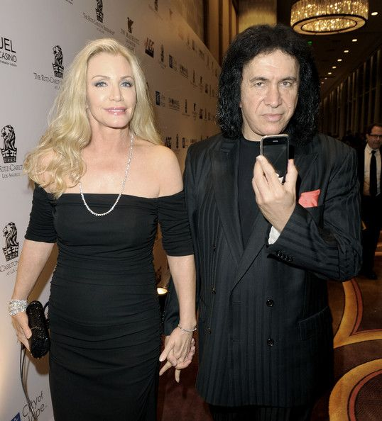 SHANNON TWEED (L) and musician GENE SIMMONS arrive at City of Hope's Music and Entertainment Industry's Spirit of Life Gala in the Diamond Ballroom at the Ritz-Carlton and JW Marriott Hotels on January 13, 2010 in Los Angeles, California.