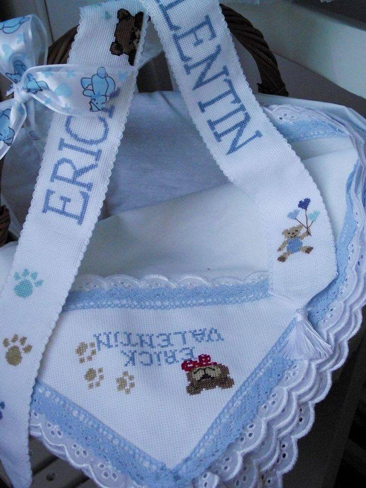 "Set de botez personalizat cu broderie manuala. Vizitati ""Cu ata si ac "" pe Facebook"