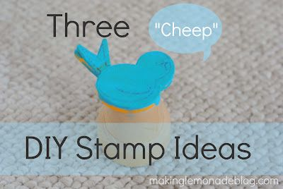 Here's three ways to make cheap stamps for projects with kids! Summer's coming... have these free materials ready so you can keep kids occupied creatively! #kidscrafts #crafts