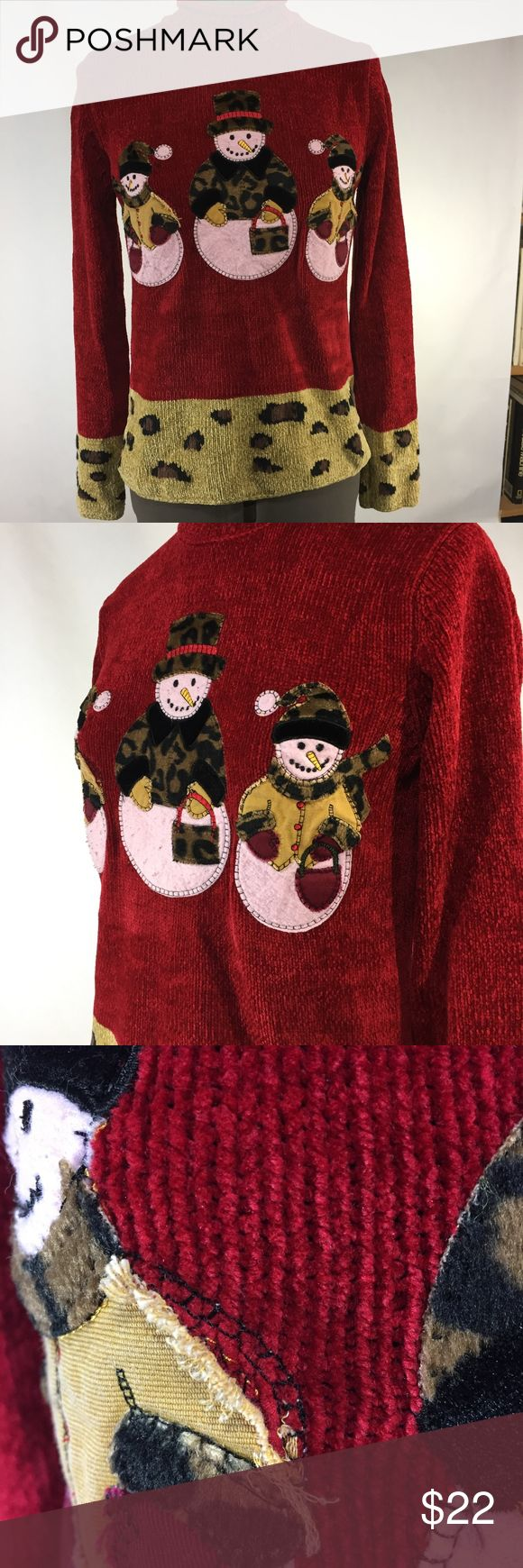 Chadwicks leopard print snowman sweater Chadwicks - Womens Red background acrylic pullover longsleeve ugly Christmas sweater, mock turtleneck collar with three snowmen dressed in leopard print on front and leopard print hem. Some loose threads on one snowman, see 3rd image, easily fixed. Snowman on back. Chadwicks Sweaters Cowl & Turtlenecks