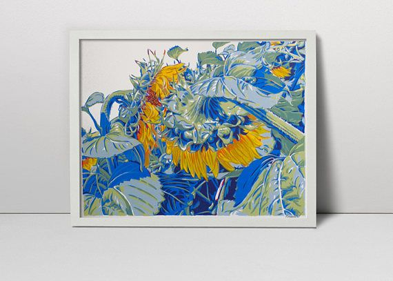 Sunflowers serigraph   sunflower art  flower print   flower