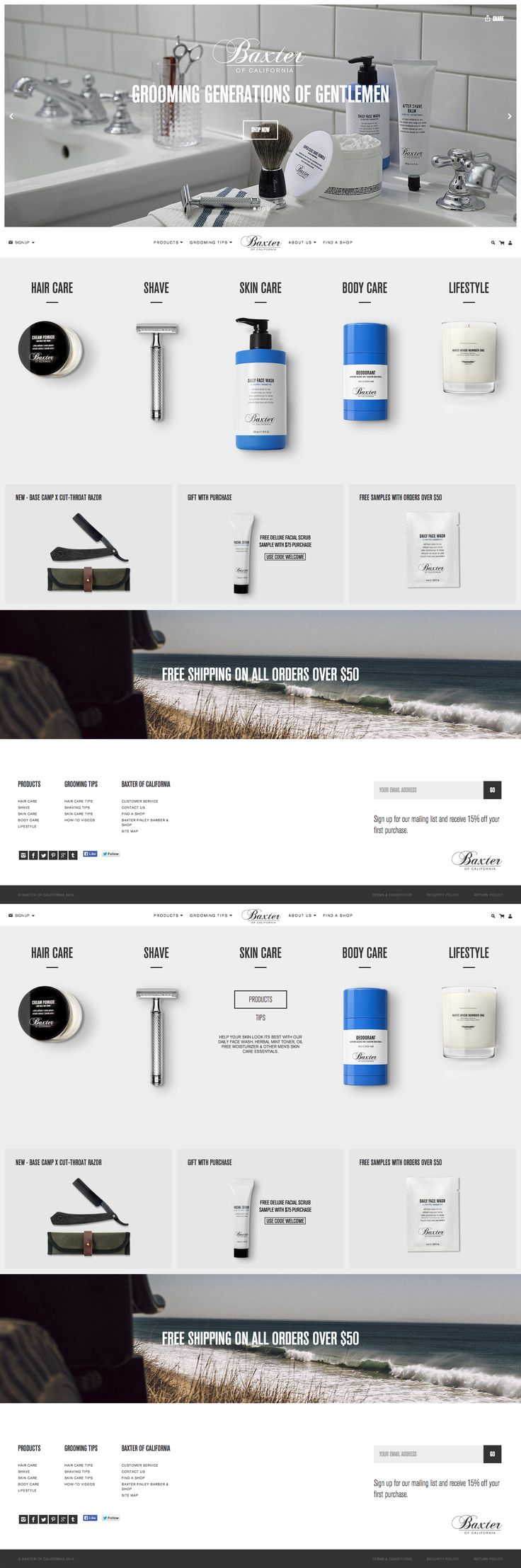 Cutout products for caregories --website design // http://www.baxterofcalifornia.com/